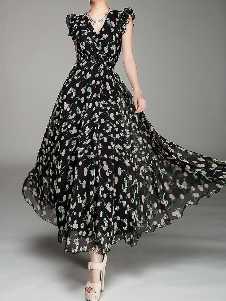 black dress,print dress,v-neck dress,chiffon dress,maxi dress