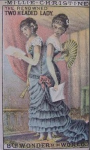 """P.T. Barnum's Dime Museum poster advertising """"The Two-Headed Lady"""" Christine & Millie McCoy (1850's)"""