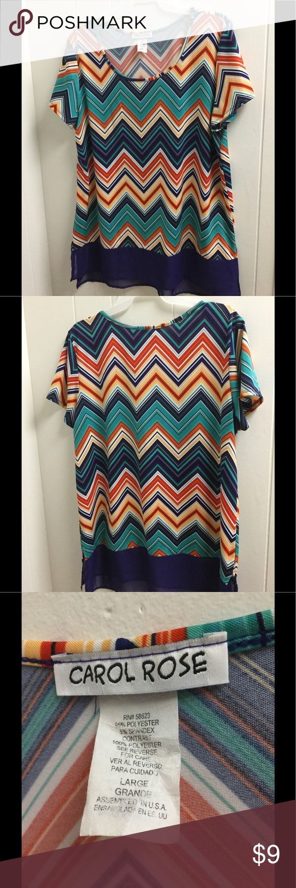 Carol Rose large top in mint condition. This colorful chevron top is flowy and lightweight. It is in top notch condition. It comes down a little longer than normal tops with the blue material at the bottom. Get this one today! I love it with white capris! Buy with confidence for clean, smoke free clothing. Thanks for looking! carol rose Tops Blouses