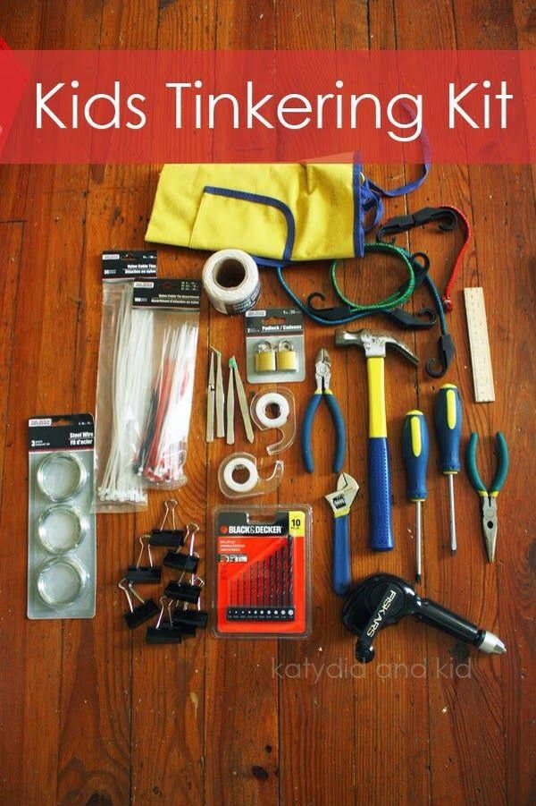 Every boy needs this!!! Twine, jute or other strings with a variety of thicknesses zip ties wire binder clips tweezers padlocks hammer wrench screwdrivers pliers hand drill and bits tape measure scissors bungee cords apron tapes of various weights and sizes (masking, invisible tape, duct tape) ruler sandpaper plastic caps from bottles balsa wood pieces