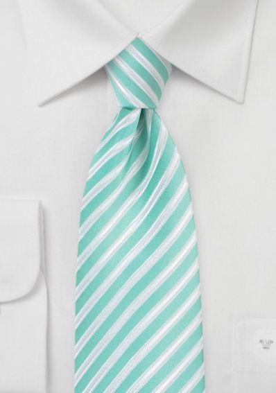 Krawatte Business-Streifen mint schneeweiß