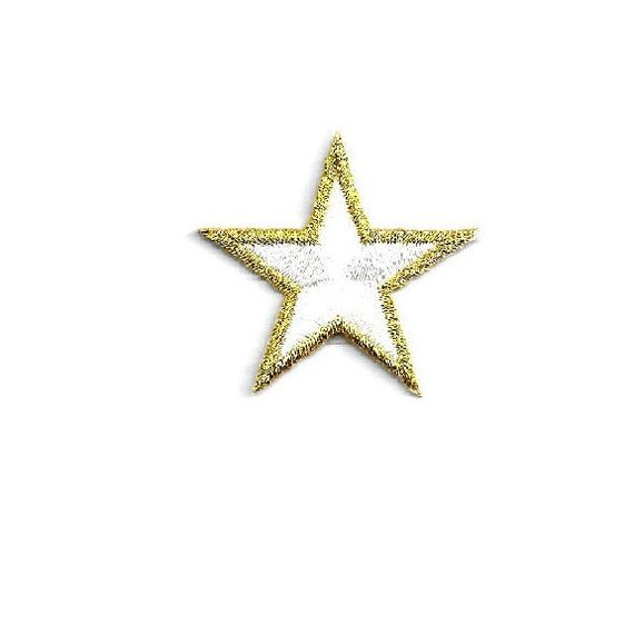 """1 1//4/"""" Set Of 12 Star School White Embroidered Iron On Patch Stars"""