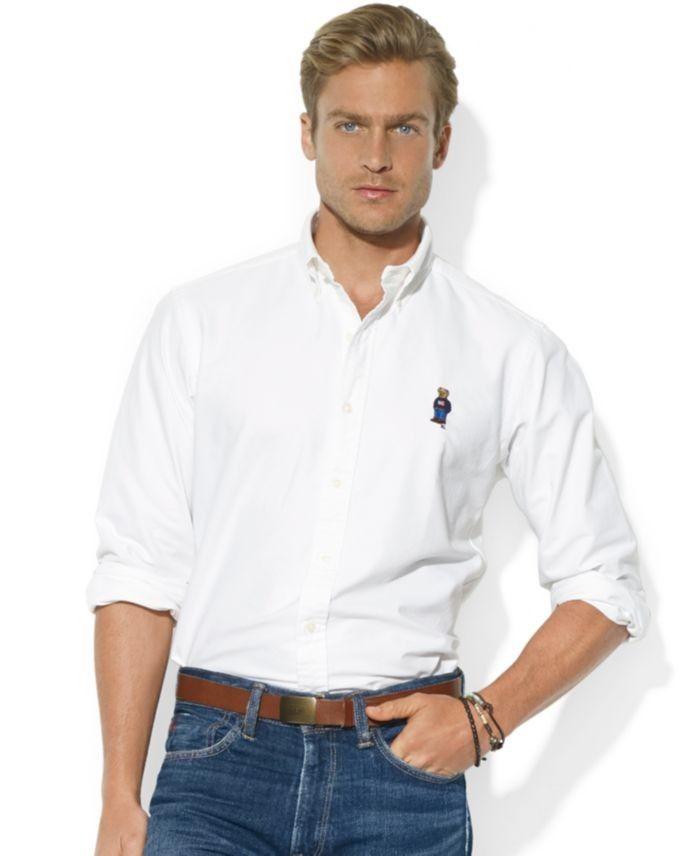 Polo Ralph Lauren Shirt, Classic-Fit Long-Sleeve Cotton Oxford Polo Bear  Sport