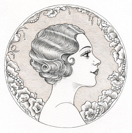 """Busy Drawing Illustration Blog: 1920s glamour girl for Illustration Friday: """"Yesterday"""" by Laurie A. Conley"""