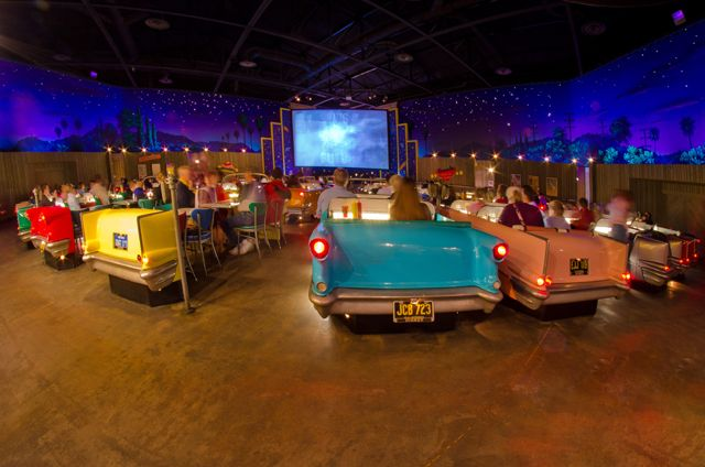 Sci-Fi Dine-In Theater in Hollywood Studios. Great food and funny old sci-fi clips. LOVE this place!!