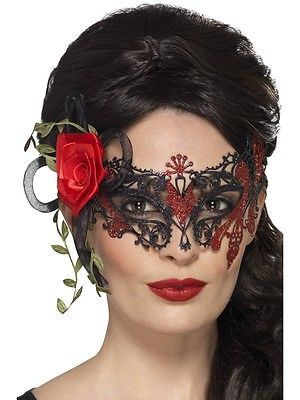Day of the Dead Metal Filigree Eyemask Ladies Masquerade Fancy Dress Mask