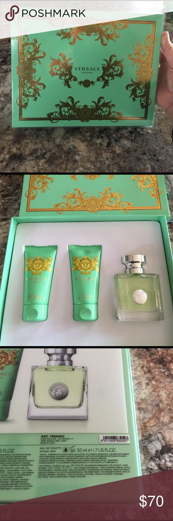 Versace Versense gift set 1.7 oz eau de toilette spray, 1.7 oz revitalizing lotion, 1.7 oz refreshing bath and shower gel. All brand new in packaging! Versace Other