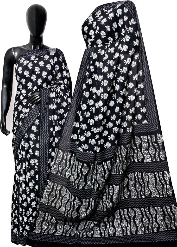 Exclusive new hand block printed Black nd white print sarees