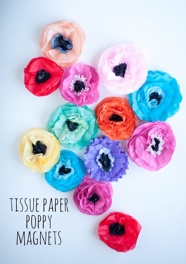 Tissue Paper Poppy Magnets