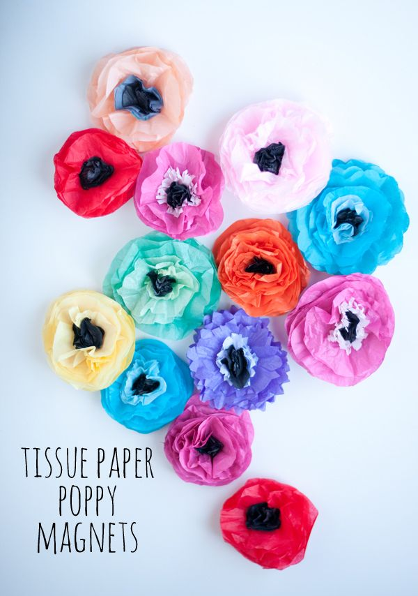 Tissue Paper Poppy Magnets
