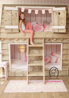 #bunkbed Droomhuis steigerhout | Saartje Prum via Kinderkamerstylist