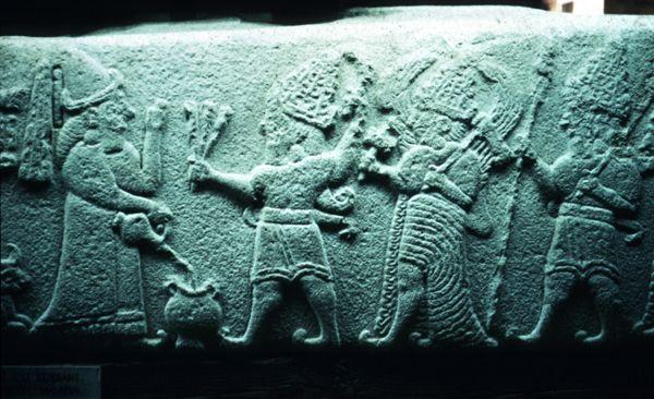 Malatya- Arslantepe frieze block with PUGNUS-Mili pouring libations to gods