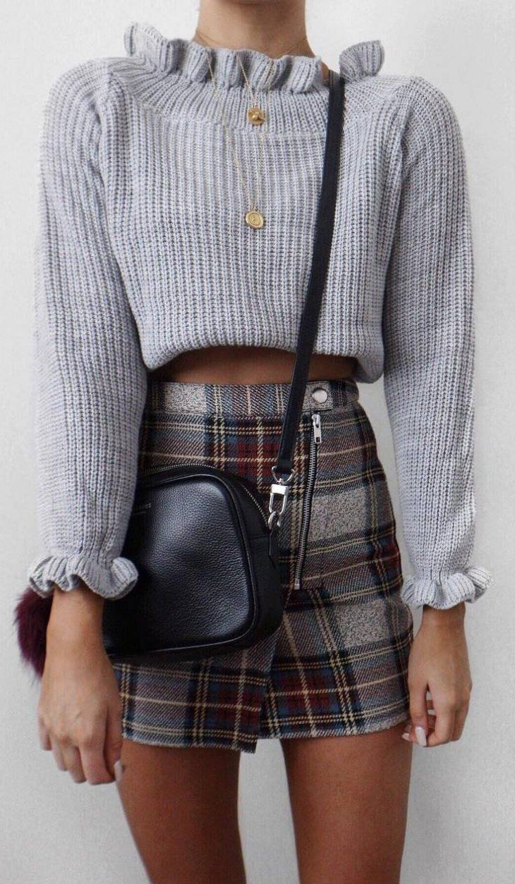 how to style a plaid skirt : knit sweater and balck bag
