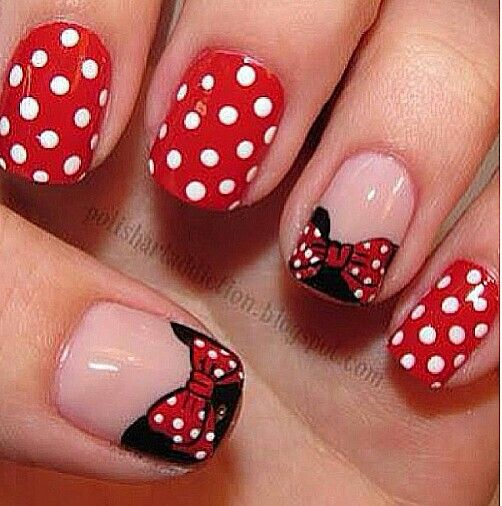 Minnie Mouse nails for WDW! I need these in Febuary..
