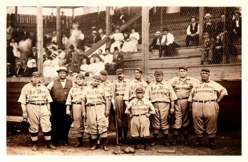 1910 Fat Men's Amusement Baseball Team  Back in the good ol' days! Great period clothing on the folks in the stands.