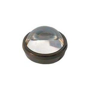 Lente mezza sfera. Lente mezza sfera in vetro di qualità con anello in plastica nero o bianco. Trova impiego nella visione di superfici come mappe, carte geografiche, filatelia, lettura di testi e caratteri, analisi di stampe. Diametro 80 mm Ingrandimento: 3X