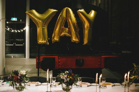 Yay gold balloons, Newcastle Museum Wedding | James Goff Photography
