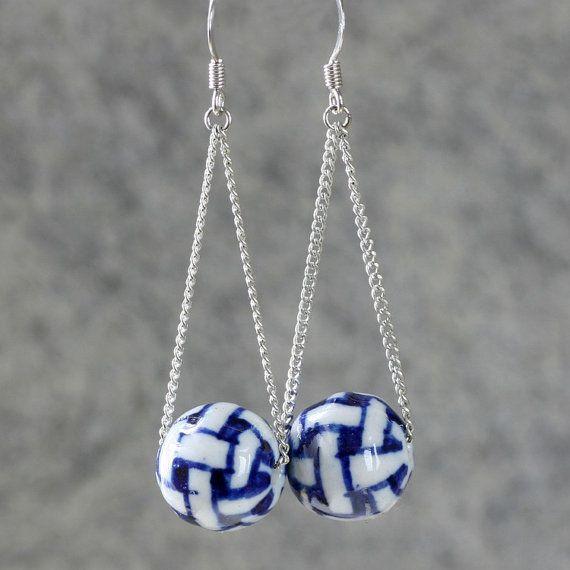Indigo ceramic swing dangle Earrings handmade ani by AniDesignsllc, $9.95