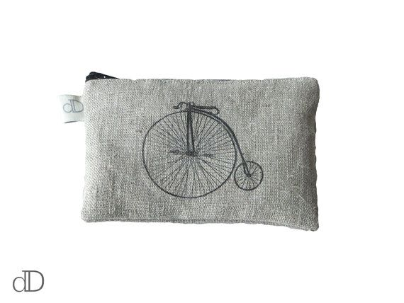 Make Up Bag / Cosmetic Bag /  Purse with Bicycle print on linen