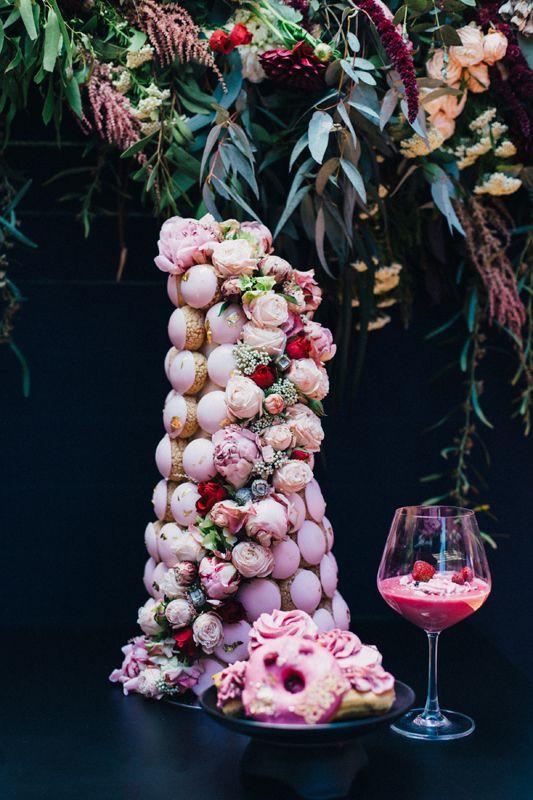 Rosé All Day | Pink and gold dessert table | Pink croquembouche with peonies | HOORAY! Mag