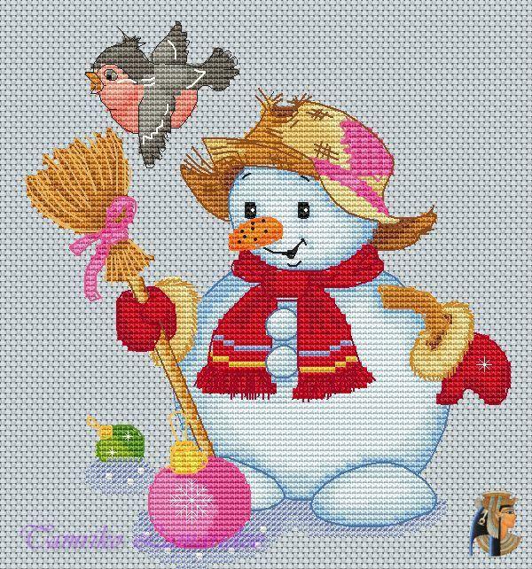 Gallery.ru / Снеговик со снегирем - Схемы для сайта ВКонтакте - tamriko-lamara