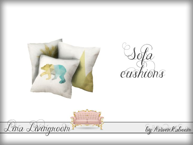 Sofa cushions in four recolors.  Found in TSR Category 'Sims 4 Clutter'