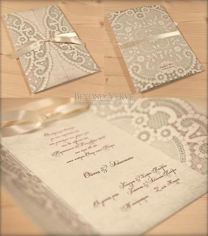 Lace wedding invitation - Wedding stationery