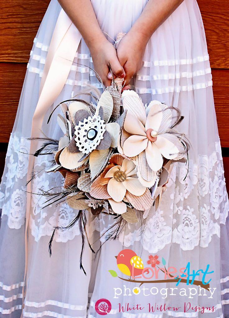 Image LonesArt Phtotgraphy  Rustic wedding, peach apricot and ivory wedding flowers, fabric bridal bouquet, vintage wedding, steampunk handmade design