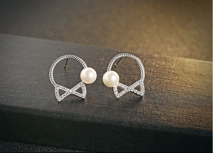 Zirconia Bow tie 4mm shell Beads S925 Silver bow- earrings sterling silver GIFT #Stud