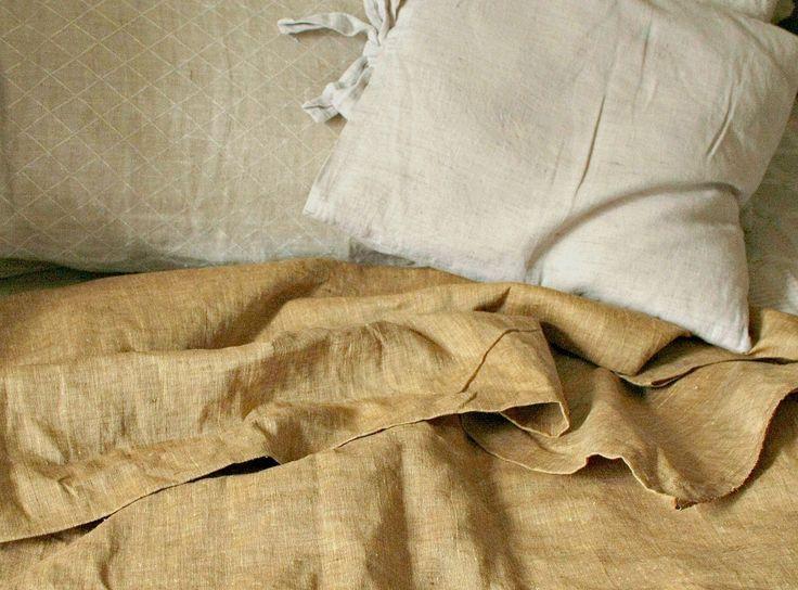 Linen bedding; old gold duvet cover