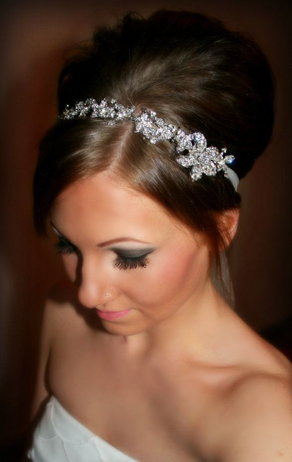 Bridal Headband Bridal Head Piece SHAY Rhinestone by BrassLotus