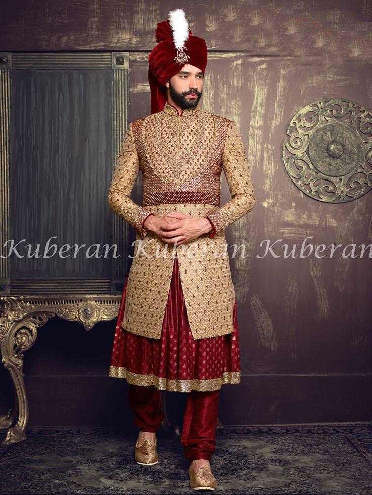 Light Brown With Red Designer Indian Traditional Wedding Sherwani  #sherwani #traditionalwear #ethnicwear #indiansherwani #designersherwani #designerweddingsherwani #kuberansilks #bestsherwaniwedding #lovely #beautiful #lovesherwani
