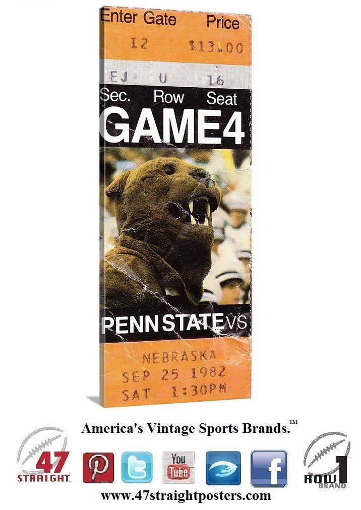 1982 Nebraska vs. Penn State football ticket art on canvas. #Pennstate #NittanyLions #PSU won 27-24 and won the '82 National Title. #statecollege #collegefootball #gifts #giftideas #sportsart #47straight #BeaverStadium #row1brand #CyberMonday #MobileMonday