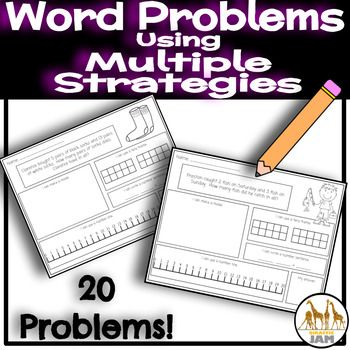 Get your students practicing word problems with this product. First graders will go above and beyond basic computation by showing their answer using multiple strategies. This no prep resource is just what you need to get students practicing problem solving with different strategies. 20 Problems are included in this product: →5 Addition within 20 →5 Addition within 10 →5 Subtraction within 20 →5 Subtraction within 10