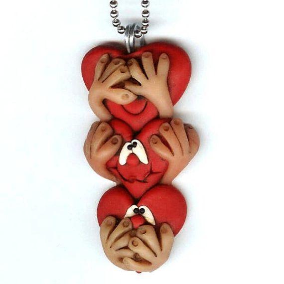 Сердце Ничего не вижу не говорить зла ожерелье из полимерной глины ювелирные изделия