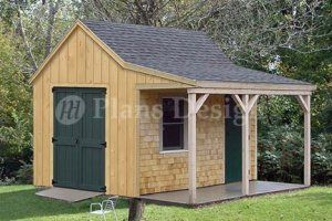 rustic sheds with porch | 12' X 12' Cottage Shed with Porch Project Plans, Design #81212