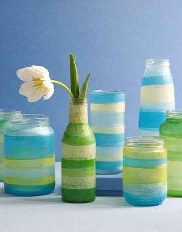 Sea Colored Vases with Tissue Paper - repurpose your recyclables as cheerful vases.