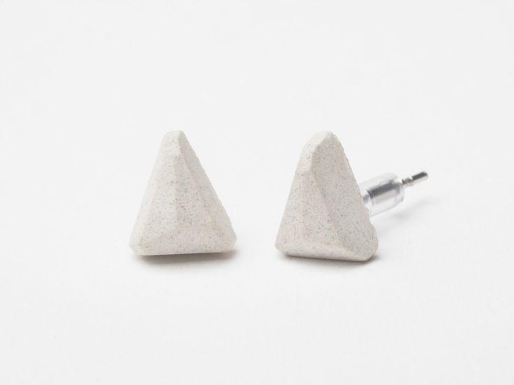 AB concrete design - WEDGE / white Earrings, concrete, design, gray, stone, meteor, triangle, polygon, rock, minimal, elegant