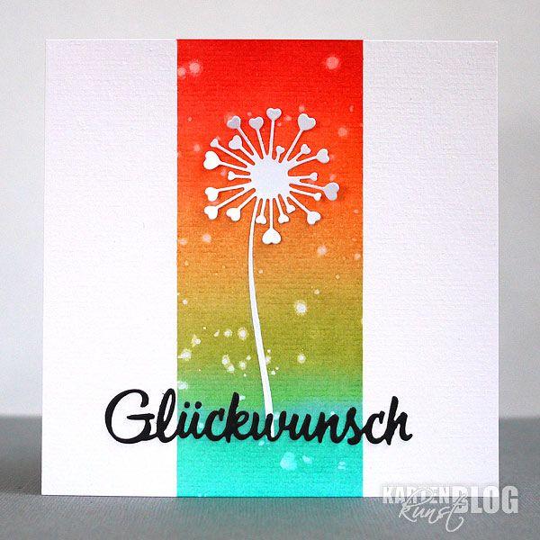 blog.karten-kunst.de - Bunter Glückwunsch. Stanzschablonen: Karten-Kunst Stanzschablone – Dandelion Hearts, Karten-Kunst Stanzschablone – Große Texte Glückwunsch