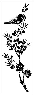 Bird & Blossom Panel stencil from The Stencil Library online catalogue. Buy stencils online. Stencil code JA121.