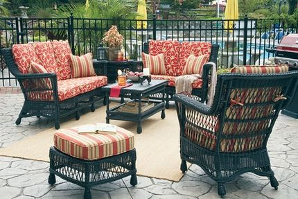 Vintage wicker makes a stunning statement with the Legacy ensemble. Its Victorian outdoor wicker components add a lacy look that belies its sturdiness.