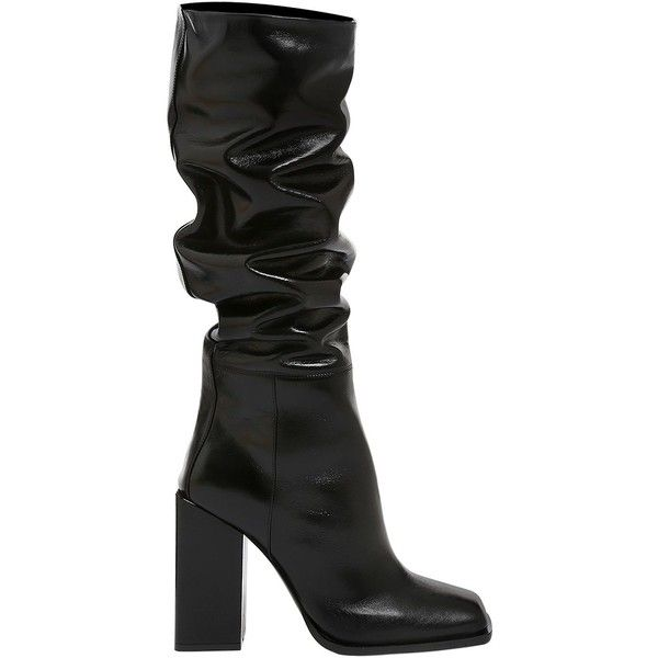 Saint Laurent Women 105mm Jodie Shiny Leather Boots (24.680 ARS) ❤ liked on Polyvore featuring shoes, boots, black, leather upper boots, black leather shoes, black boots, black slip on shoes and polishing leather boots