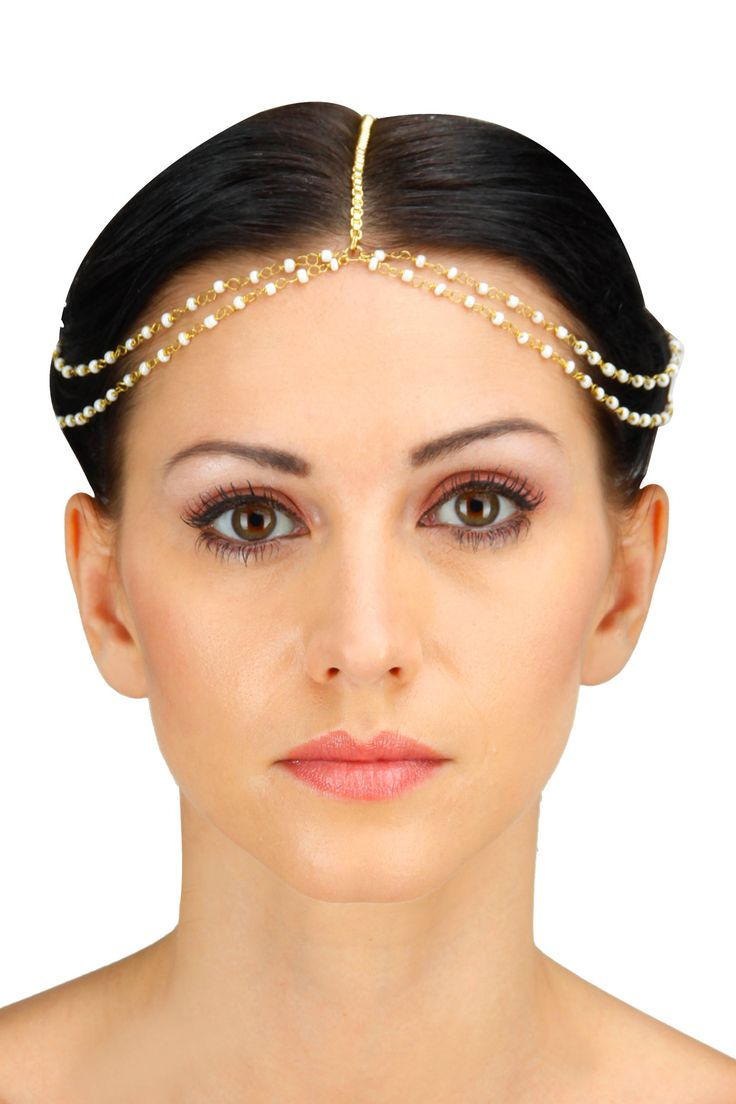 Ivory seed bead double chain matha patti available only at Pernia's Pop-Up Shop.