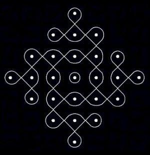 Chikku Pulli Kolam With Dots