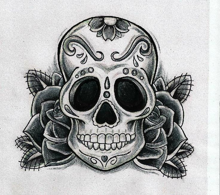 Calavera mexicana con rosas para tattoo .. Tattooideas ...
