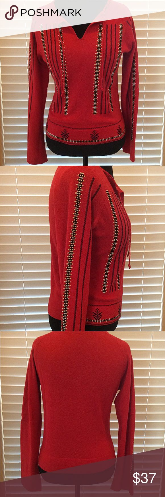 """SLEEPING ON SNOW RED SWEATER SIZE L/M GUC Cute light weight sweater with embroidered detail. 50% wool, 30% nylon, 6% angora, 3% cashmere. Measures 19.5 arm pit to arm pit and 21.5"""" shoulder to hem.  Size is large but it runs smaller. Anthropologie Sweaters"""