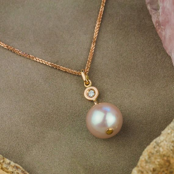 Natural Pink Pearl and Diamond Necklace in 18K by ZEHAVAJEWELRY