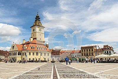 Daytime view of the Council Square and the Council House in Brasov, Romania