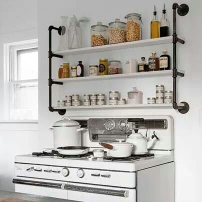 Pipe shelves in every room! lol