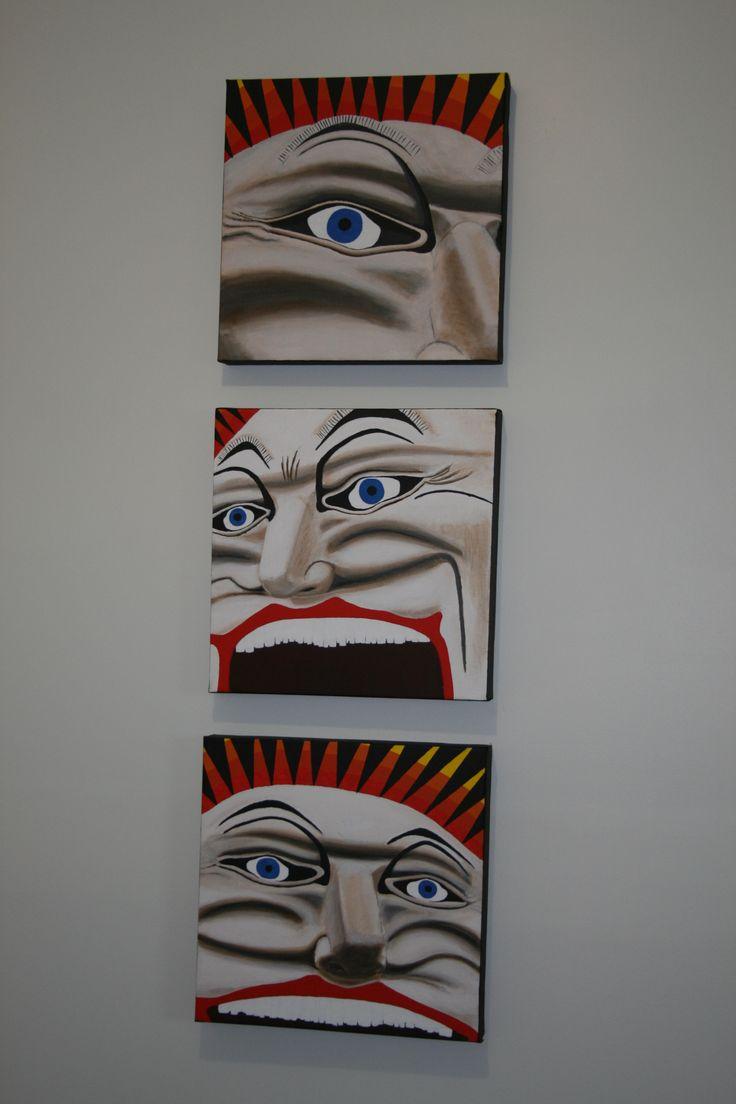 Set of 3 acrylic paintings of Luna Park, Melbourne, Australia.